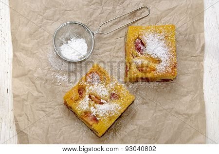 Fruit Cake With Nectarines On Kitchen Paper
