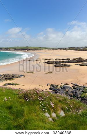 Coast scene Harlyn Bay North Cornwall England UK near Padstow and Newquay