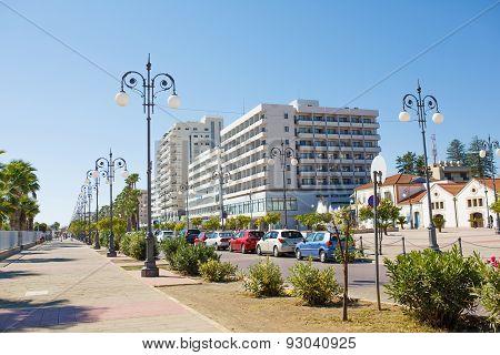 The Foinikoudes promenade and Europe square popular touristic place