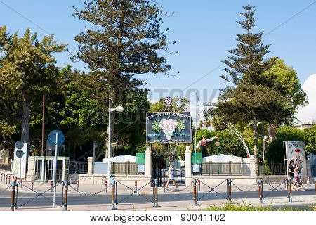 Limassol city. Wine Festival entrance with sign.