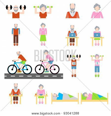 Senior lifestyle flat icons set