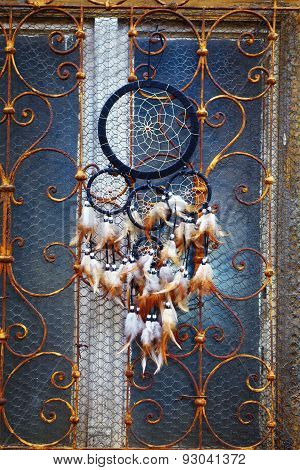 Dream Catcher And Ornamental  Window On Background