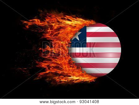 Flag With A Trail Of Fire - Liberia