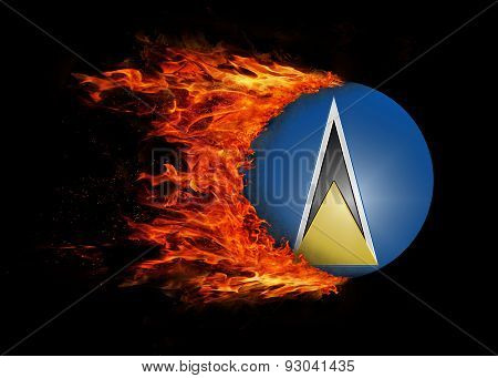 Flag With A Trail Of Fire - Saint Lucia