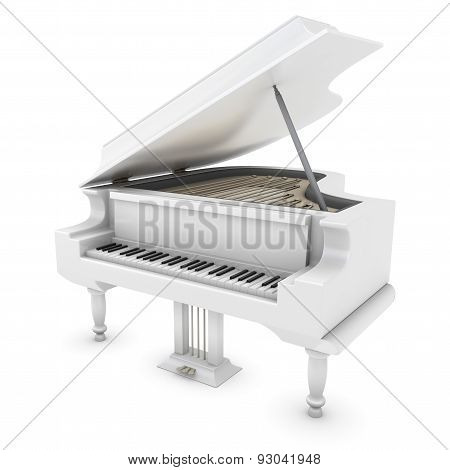 White Grand Piano Close-up