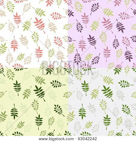 Set of 4 vintage vector seamless patterns with decorative leaves