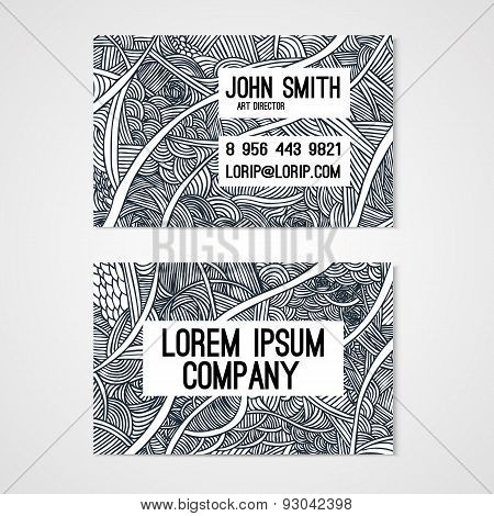 Business Card Template Whit  Hand-drawn Waves.