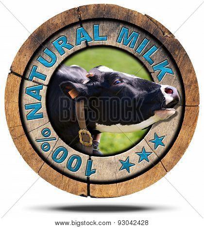 100 Percent Natural Milk - Wooden Icon