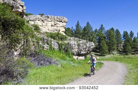 A Man Rides The Flagstaff Urban Trail