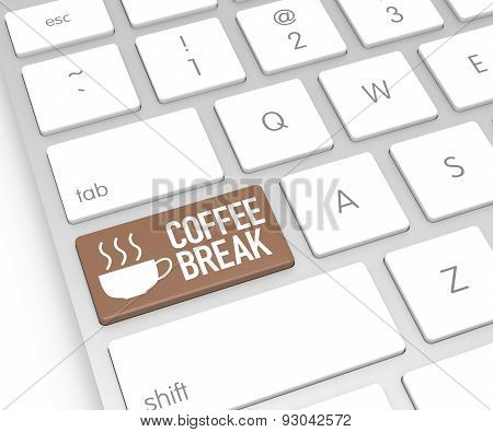 Computer Keyboard With Coffee Break Button. 3D Rendering