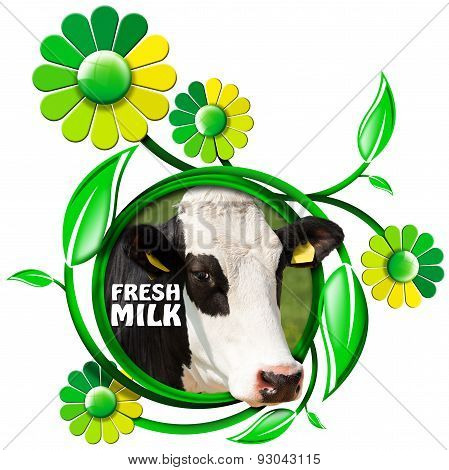 Fresh Milk - Symbol With Cow And Flowers