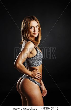 Portrait Of Fitness Girl With Pretty Buttocks With Oil