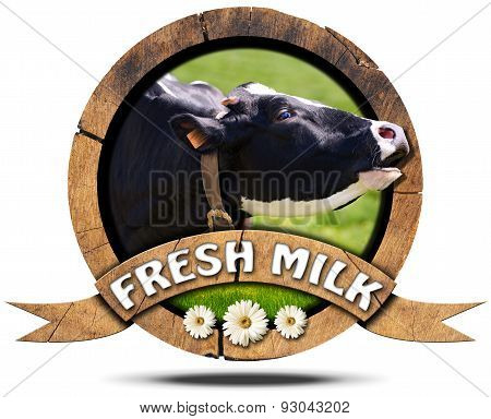 Fresh Milk - Wooden Icon With Cow