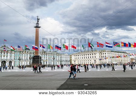 View Of Palace Square During The International Legal Forum In Saint-petersburg