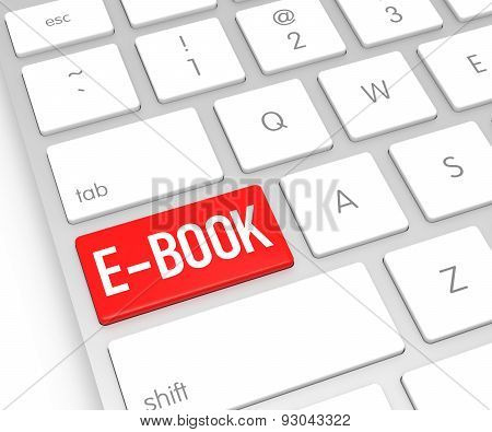 Computer Keyboard With E-book Button. 3D Rendering