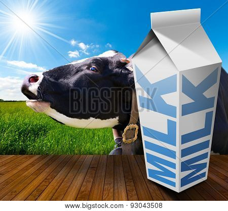 Milk Carton In Countryside With Cow
