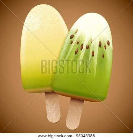 Melon And Kiwi Fruit Taste Ice Cream
