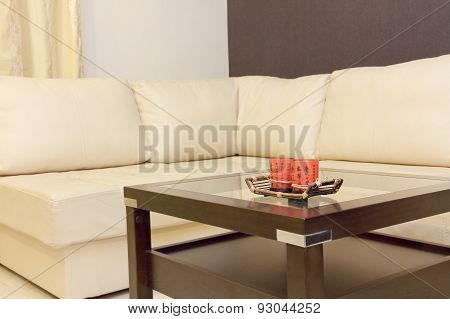 Coffee Table And White Corner Leather Sofa .
