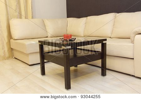 Comfortable White Corner Leather Sofa And Coffee Table.