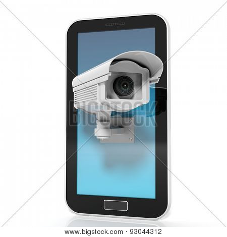 Security surveillance camera on tablet screen isolated on white background