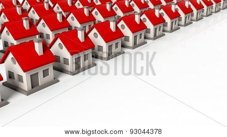 House models in rows isolated on white background
