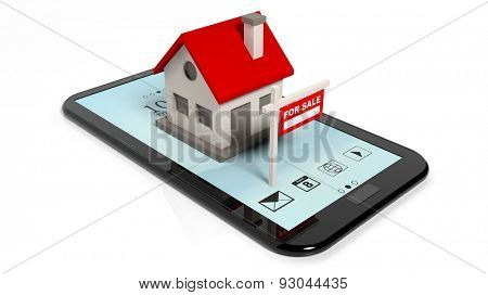 House model and sale sign on smartphone isolated on white