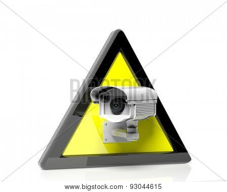 Security surveillance camera in a yellow warning sign isolated