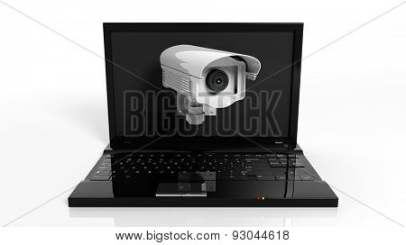 Security surveillance camera on laptop screen isolated on white background