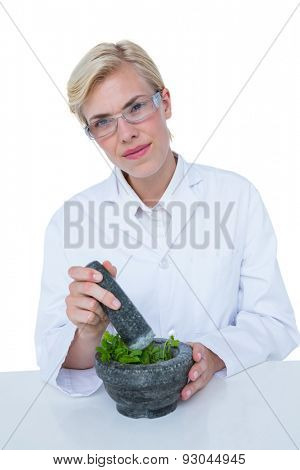 Doctor mixing herbs with mortar and pestle on white background