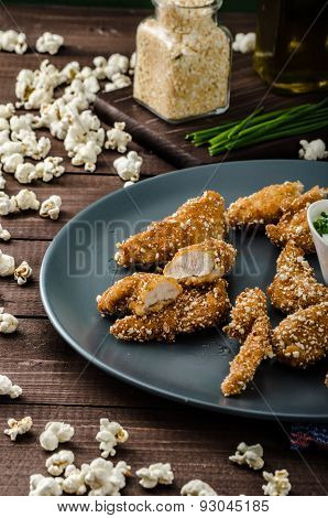 Chicken Strips In Popcorn Breadcrumbs