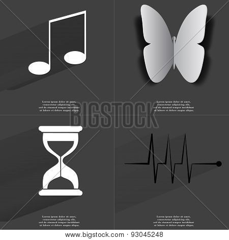 Note Sign, Butterfly, Hourglass, Pulse. Symbols With Long Shadow. Flat Design
