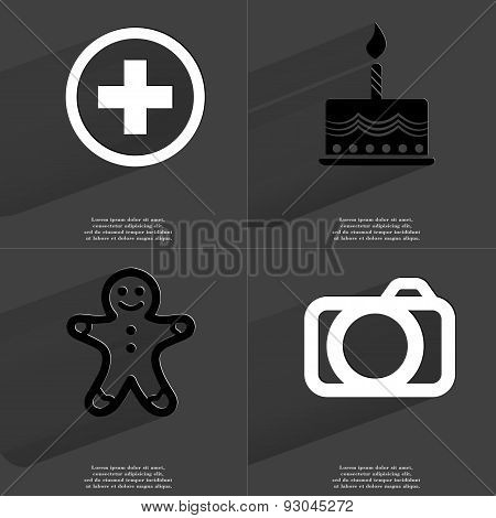 Plus Sign, Cake, Gingerbread Man, Camera. Symbols With Long Shadow. Flat Design