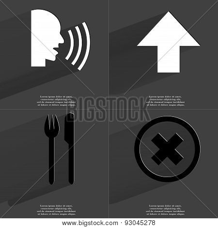 Talk, Arrow Directed Upwards, Fork And Knife, Stop Sign. Symbols With Long Shadow. Flat Design