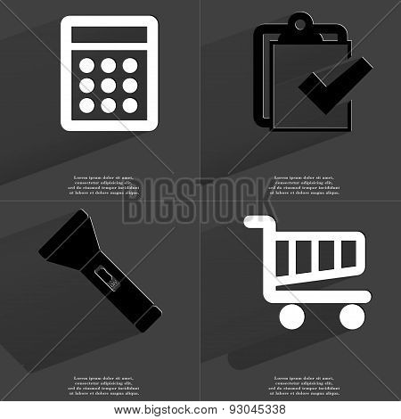 Calculator, Task Completed Icon, Flashlight, Shopping Cart. Symbols With Long Shadow. Flat Design