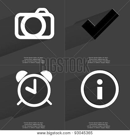 Camera, Tick Sign, Alarm Clock, Information Sign. Symbols With Long Shadow. Flat Design