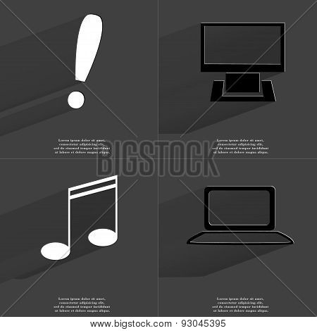 Exclamation Mark, Monitor, Note Sing, Notebook. Symbols With Long Shadow. Flat Design