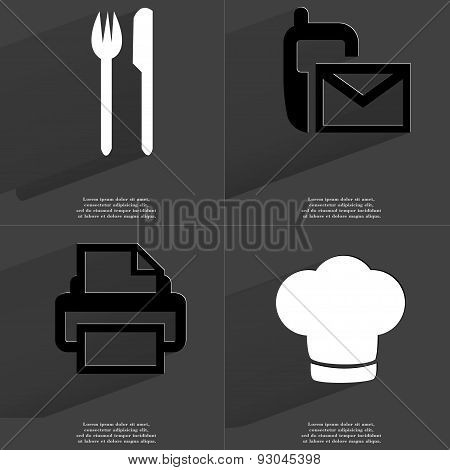 Fork And Knife, Sms Sign, Printer, Cooking Hat. Symbols With Long Shadow. Flat Design