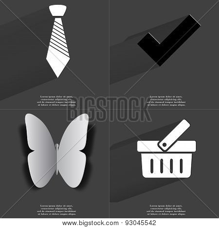 Tie, Tick Sign, Butterfly, Basket. Symbols With Long Shadow. Flat Design