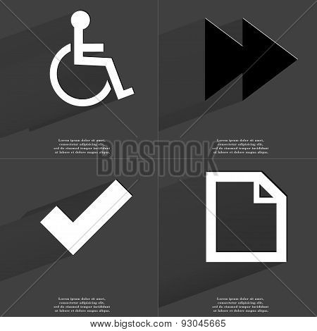 Disabled Person, Two Arrows Media Icon, Tick Sign, File Icon. Symbols With Long Shadow. Flat Design