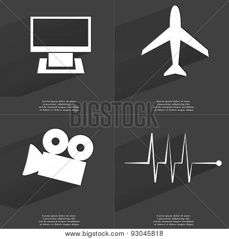 Monitor, Airplane, Film Camera, Pulse. Symbols With Long Shadow. Flat Design
