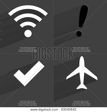 Wlan Icon, Exclamation Mark, Tick Sign, Airplane. Symbols With Long Shadow. Flat Design