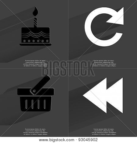Cake, Reload Icon, Basket, Two Arrows Media Icon. Symbols With Long Shadow. Flat Design