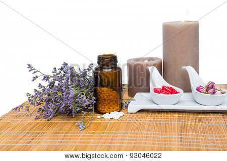 Natural products for aromatherapy on white background