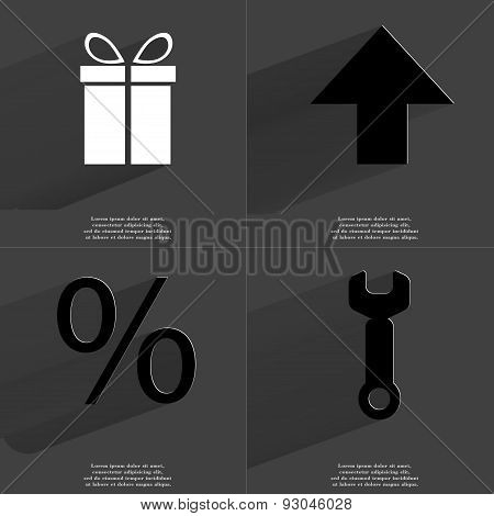 Gift, Arrow Directed Upwards, Percent Sign, Wrench. Symbols With Long Shadow. Flat Design