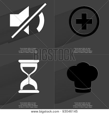 Mute, Plus Sign, Hourglass, Cooking Hat. Symbols With Long Shadow. Flat Design