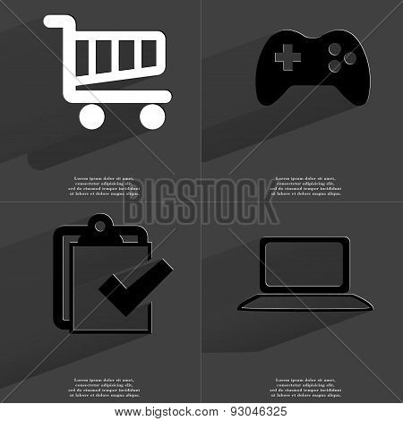 Shopping Cart, Gamepad, Task Completed Icon, Laptop. Symbols With Long Shadow. Flat Design