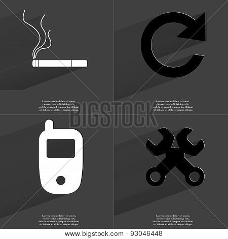 Cigarette, Reload Icon, Mobile Phone, Wrenches. Symbols With Long Shadow. Flat Design