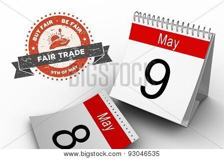 Fair Trade graphic against may calendar