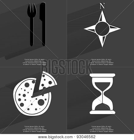 Fork And Knife, Compass, Pizza, Hourglass. Symbols With Long Shadow. Flat Design