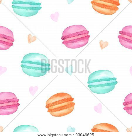 Seamless pattern colorful watercolor macaroons. Vector illustration